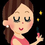 お化粧のイラスト「マスカラを塗る女性」