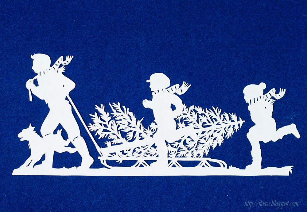вырезалка в лес по елку, вырезалка елочка, елочка на санях рукоделие, своими руками бумага и ножницы