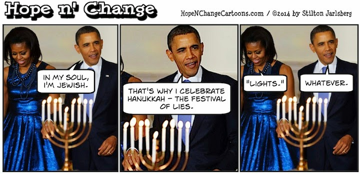obama, obama jokes, political, humor, cartoon, conservative, hope n' change, hope and change, stilton jarlsberg, hanukkah, kwanzaa, cuba, jewish, soul