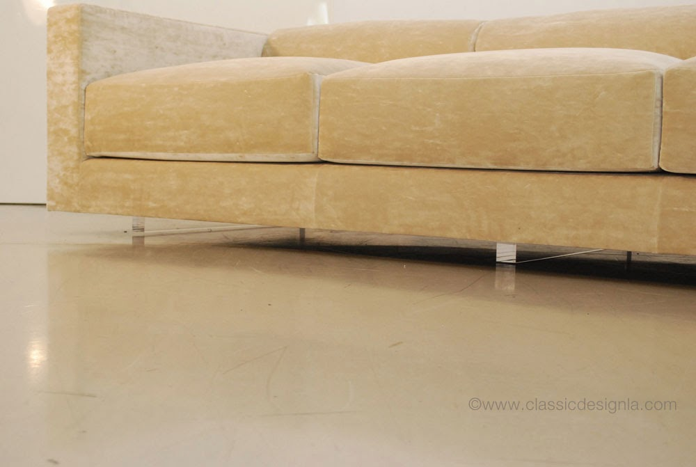 Classic Design Bolster Back Velvet Sofa With Lucite Legs