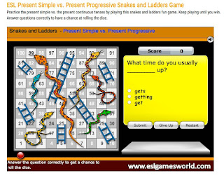 http://eslgamesworld.com/members/games/grammar/present%20tenses/present%20tenses%20snakes%20and%20ladders.html