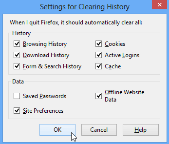 Select the types of history and data