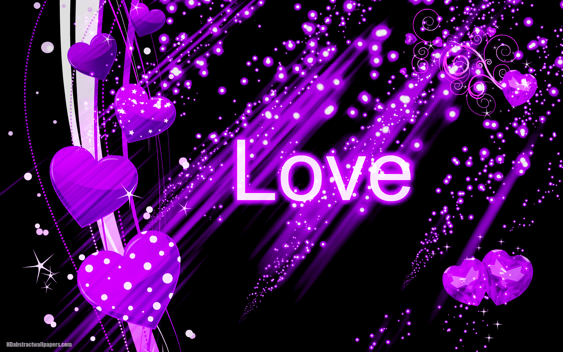 Black abstract wallpaper with purple love hearts HD Abstract Wallpapers
