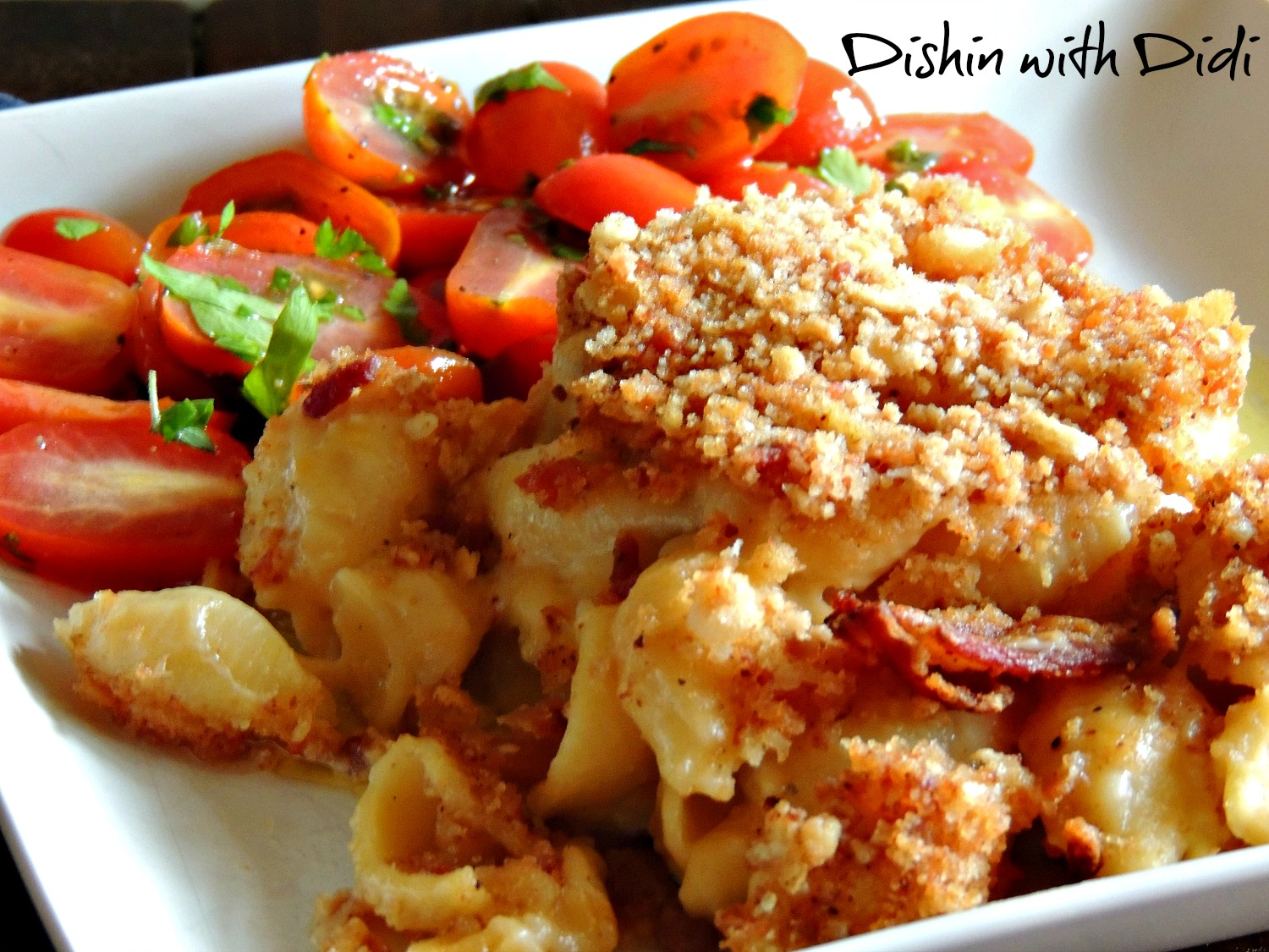 Dishin with Didi: Three Cheese Macaroni & Cheese with Bacon Topping
