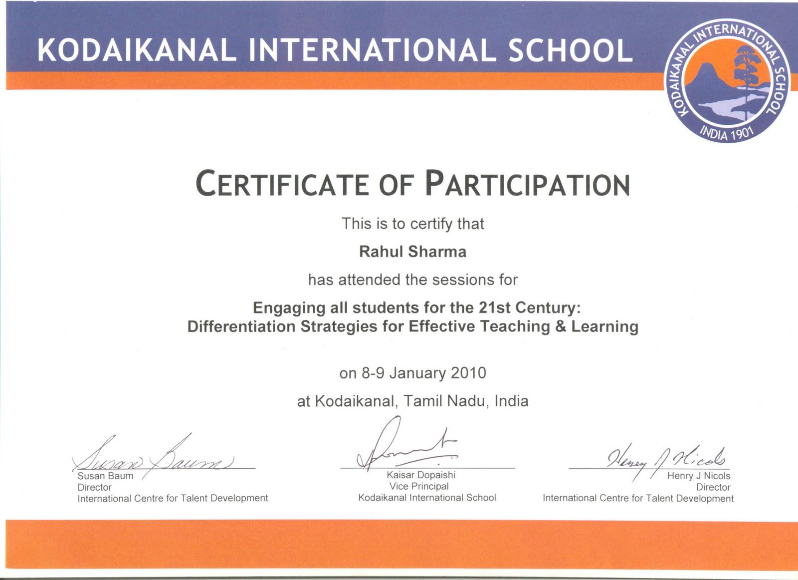 workshop certificate sample