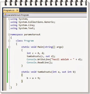 Contoh Penggunaan Parameter Out