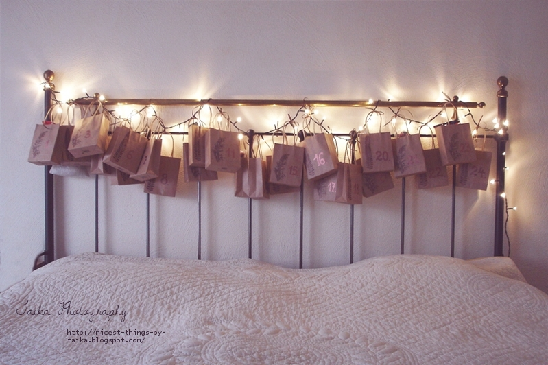 adventskalender mit lichterkette diy adventskalender am bett aus papiert ten basteln nicest. Black Bedroom Furniture Sets. Home Design Ideas