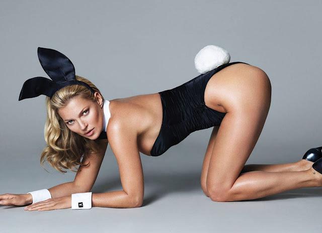 Kate Moss aparece de coelhinha em primeira imagem da Playboy