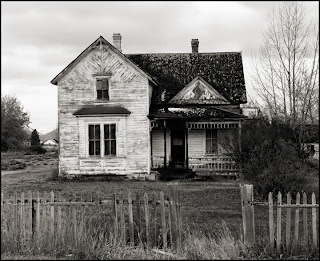 House by Bear Lake - Black and White Photograph