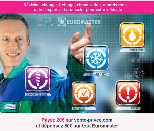 Payez 20€ sur vente-privee.com et dépensez 50€ sur tout Euromaster bon plan voiture promo euromaster