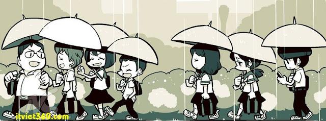 Ảnh bìa cho Facebook mưa | Cover FB timeline rain, thời học sinh dưới mưa