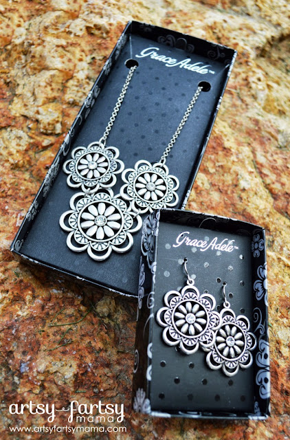 Grace Adele Marguerite Medallion necklace and earrings