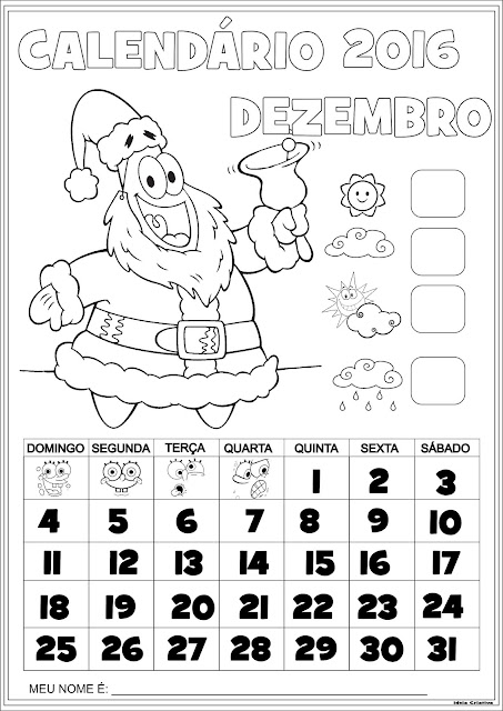 Calendário Dezembro 2016 com Numeração Patrick Estrela