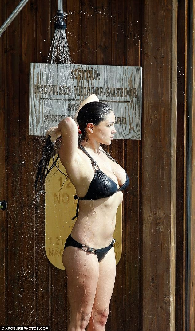 Photos: Casey Batchelor Looks Sexy in Plunging Black Bikini in Portugal 11