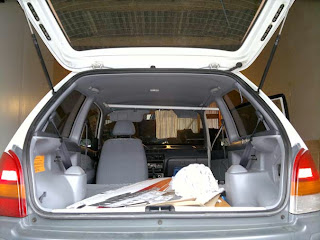 Boot open and interior of the car