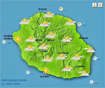 Prévisions météo réunion 19/03/2014