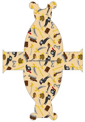 Cajita imprimible gratis con forma de vestido, de piratas.