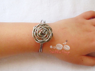 Wire Wrap Adjustable Rose Cuff by Wirebliss - on the wrist
