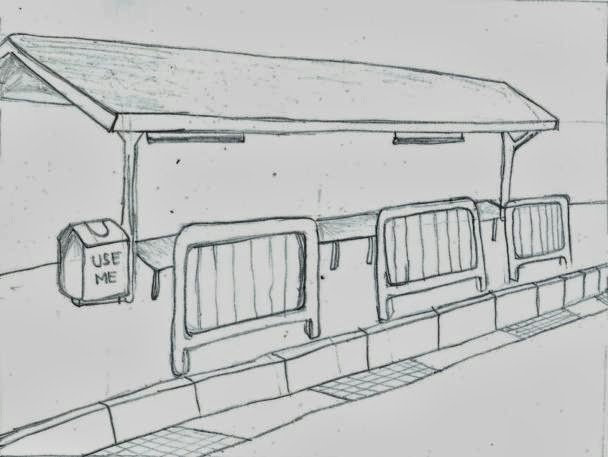 how to draw a bus stop