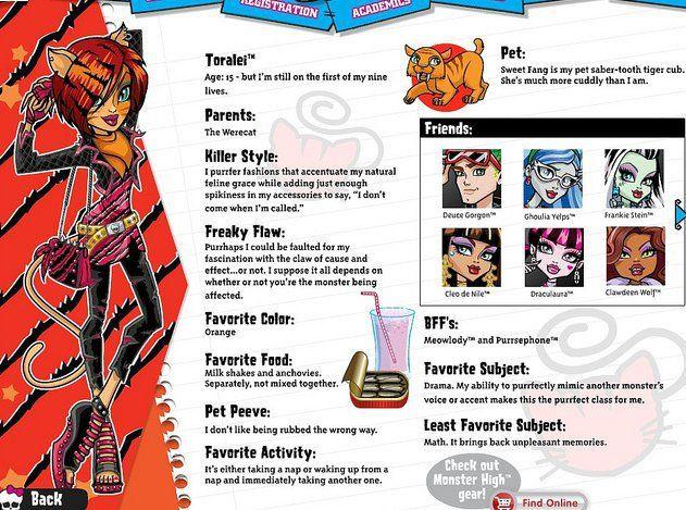 Monster High-Pretty : Perfiles de Toralei y Nefera en Monster High.com