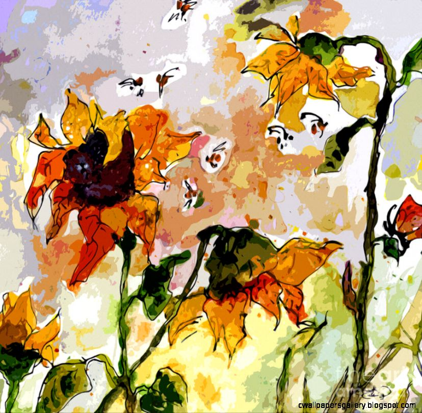 Abstract Sunflowers And Bees Provence Painting by Ginette Callaway