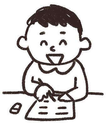 授業中の男子小学生のイラスト 白黒線画
