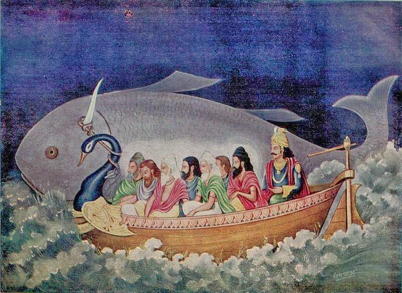 http://3.bp.blogspot.com/-1a7HUv05AvI/UzWqzzaDK2I/AAAAAAAABMM/gos1Vuq7PnE/s1600/An+illustration+of+Matsya+(fish)+Avatar+rescues+the+Saptarishi+and+Manu+from+the+great+Deluge,+Mahajal+Pralaya.jpg