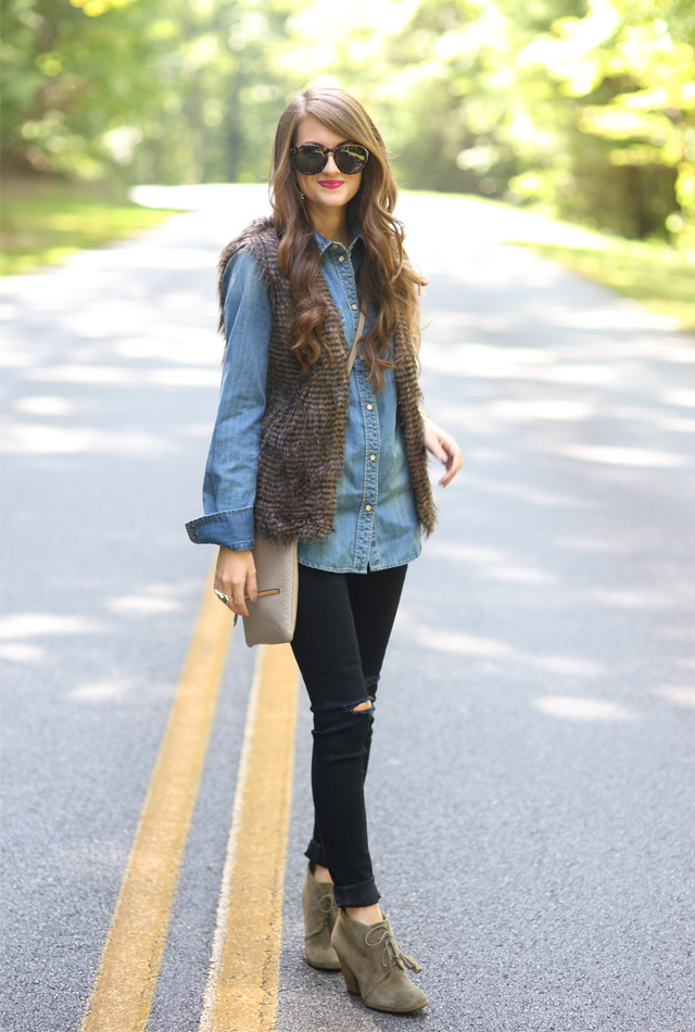 Cute fall look… love the fur vest!