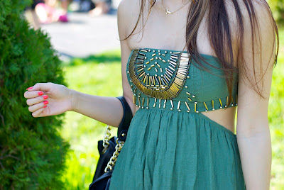 LF Cut Out Green Dress with Gold Beading Summer 2011