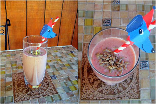 papaya, strawberry & sunflower seed smoothie
