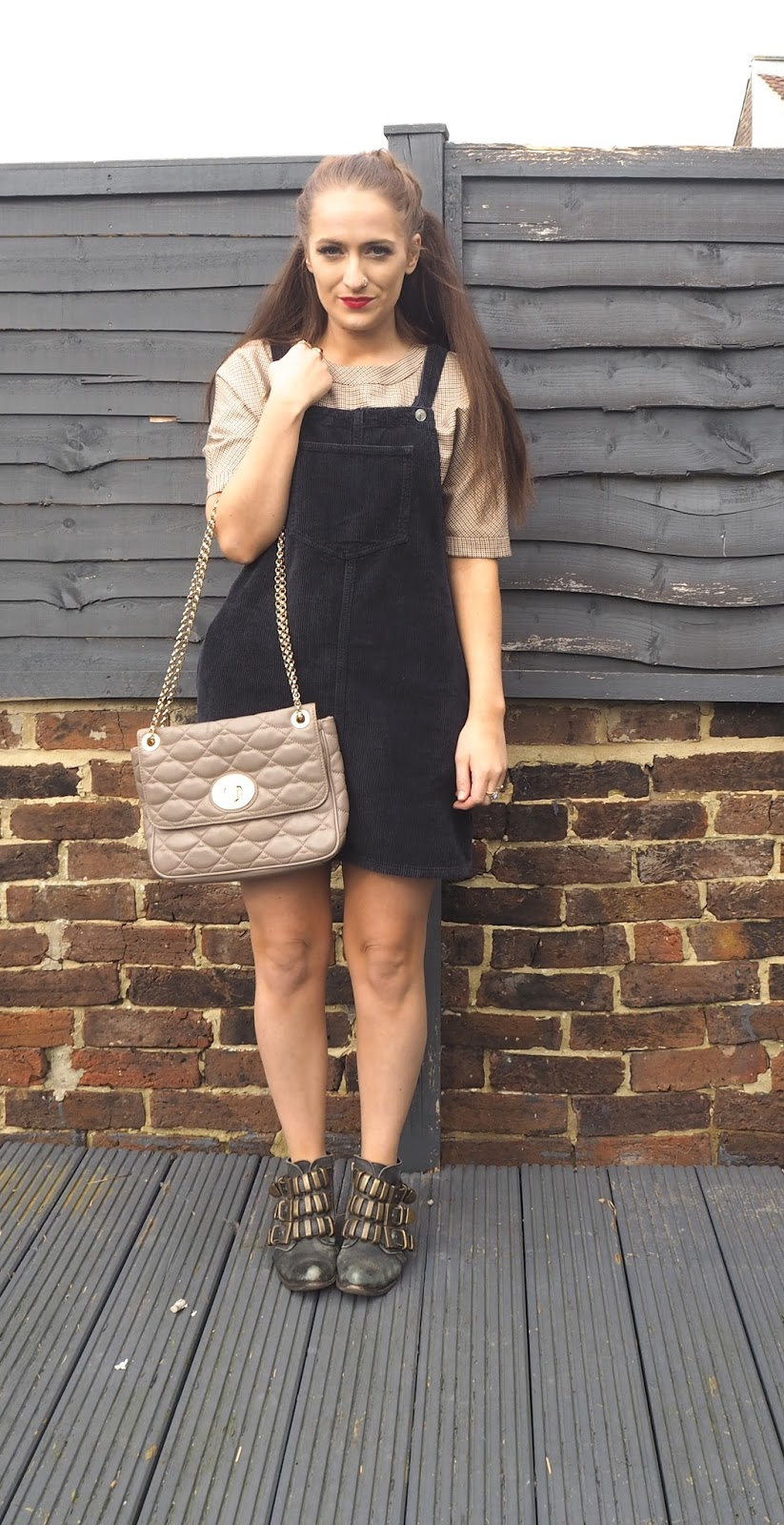 Cord Topshop pinafore and Zara top