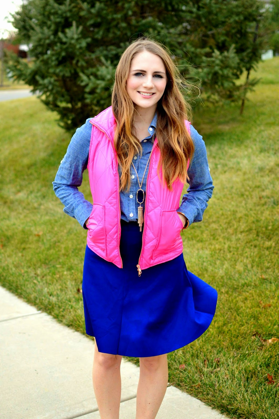 pink puffer vest outfit idea as seen on www.amemoryofus.com
