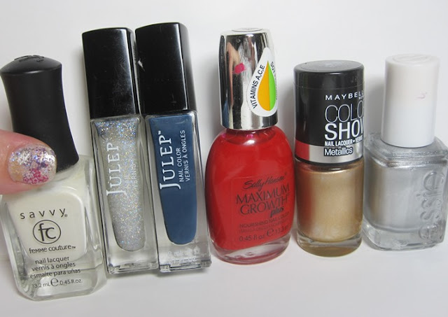 Bottle shot:  Savvy French Sheer White, Julep Vanessa, Julep Eloise, Sally Hansen Sacred Scarlet, Maybelline Bold Gold and Essie Nothing Else Metals.