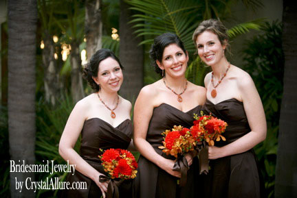 Sarah's Autumn Wedding in Chocolate and Orange | Bridesmaid Jewelry by Crystal Allure