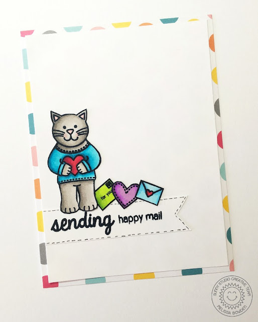 Sunny Studio Stamps: Sending My Love Kitty Cat Happy Mail Card by Melissa Bowden.