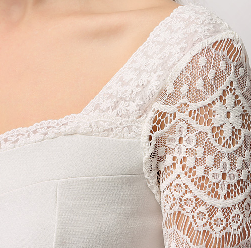 See-Through Lace Sleeves Sweetheart Dress