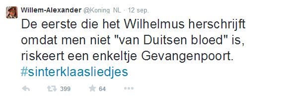 Tweet @Koning_NL over zwartepietendiscussie