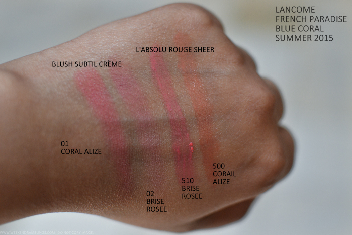 Lancome French Paradise Blue Coral Makeup Collection Summer 2015 Swatches Blush Subtil Creme Cream Blush 01 Corail Alize 02 Brise Rosee Labsolu Rouge Sheer Lipsticks 510 B500 Corail Alize