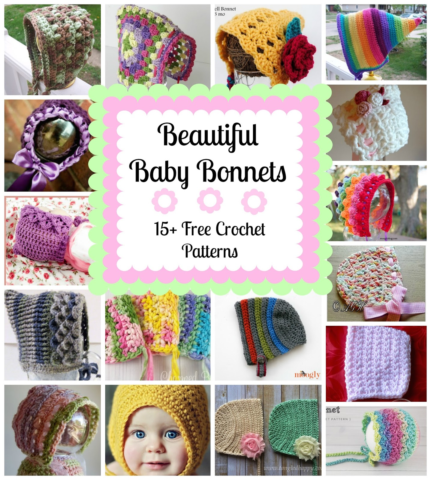 Fiber flux beautiful baby bonnets15 free crochet patterns beautiful baby bonnets15 free crochet patterns bankloansurffo Image collections