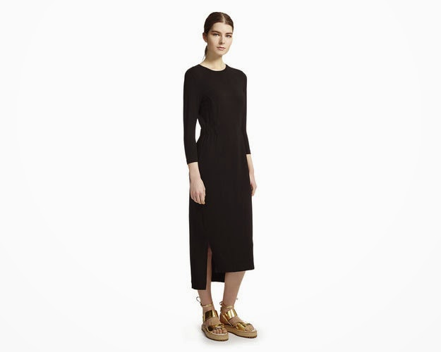 whistles black midi dress