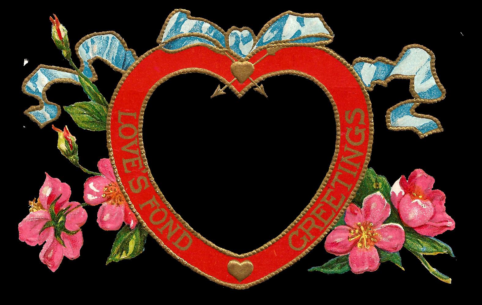 antique images free digital valentine printable red heart frame