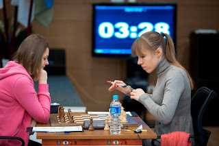 Echecs : Olga Girya a battu ronde 8 la Slovène Anna Muzychuk - Photo Nikolay Bochkarev