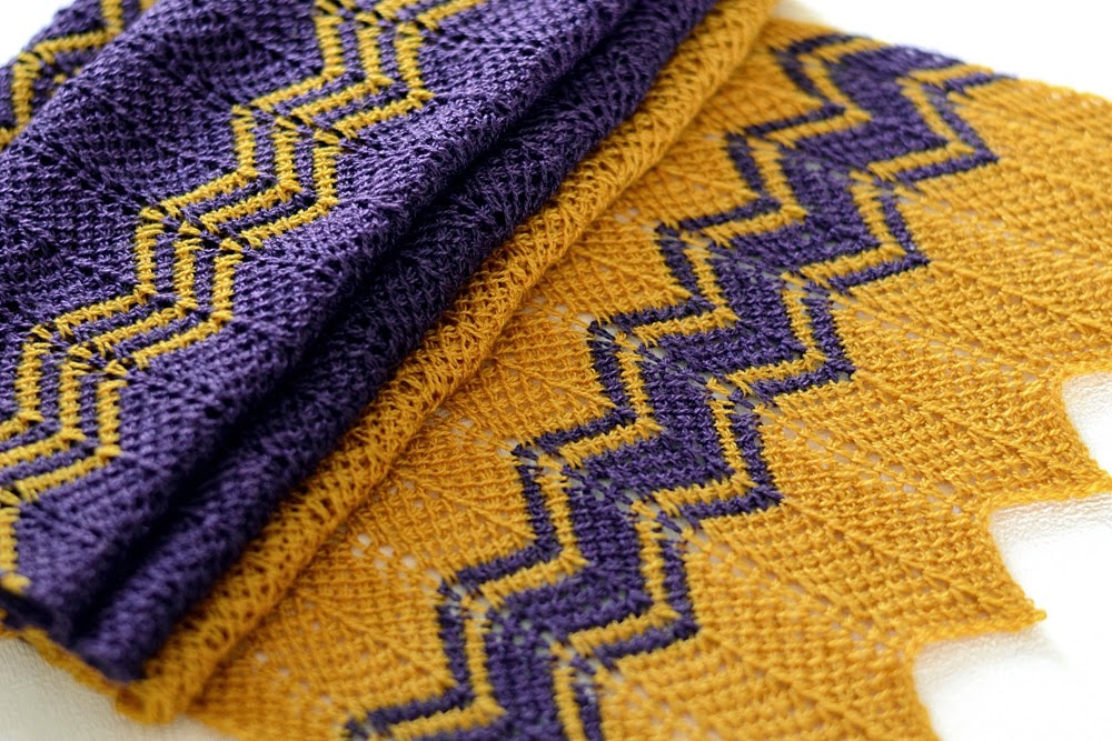 Cup Of Stitches Pattern Release Purple Gold Scarf