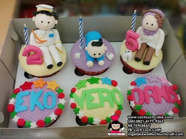 Cupcake Keluarga Dokter Cute Gigi, Bayi dan Tentara