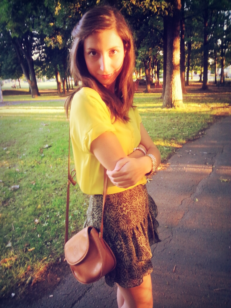 bright yellow top jungle green skirt girl woman fashion purse summer