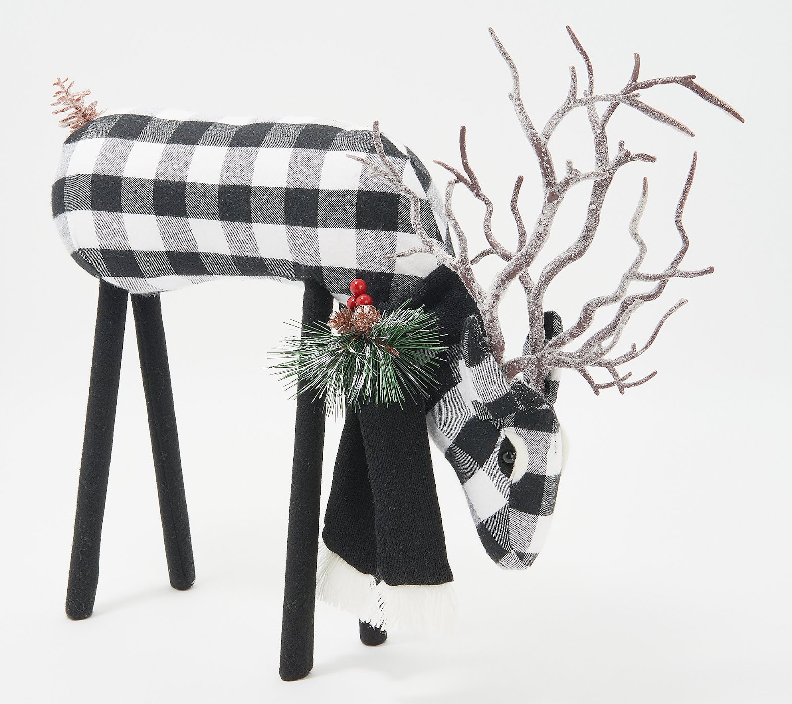 Adorable Plaid-Fabric Reindeer Black or Red