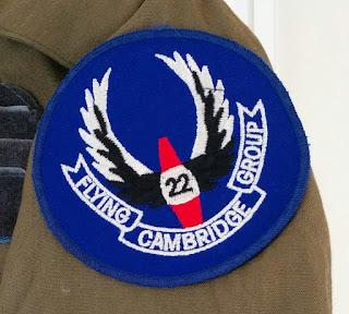 """Blue embroided shoulder badge, """"Cambridge Flying Group"""""""