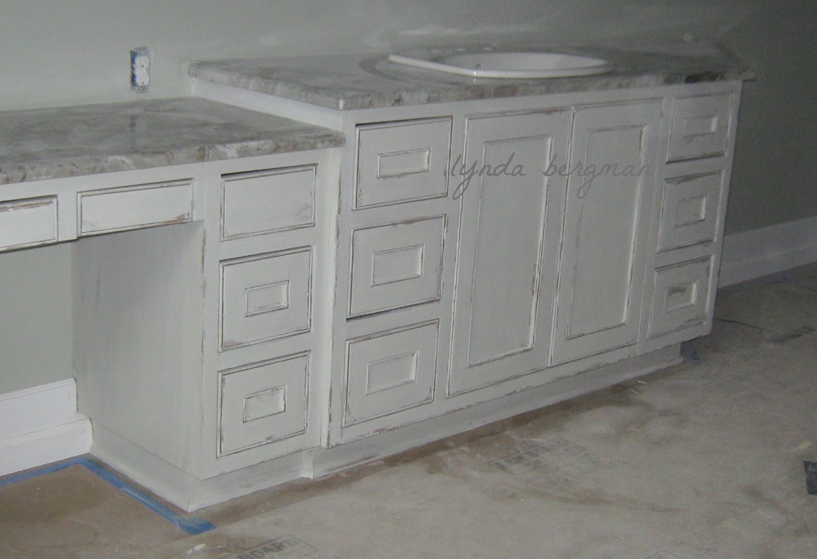 Painting Bathroom Cabinets Distressed White lynda bergman decorative artisan: painting a white distressed