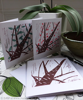 cherry trees, lino print, lino cards, set of cards, hand press print, trees
