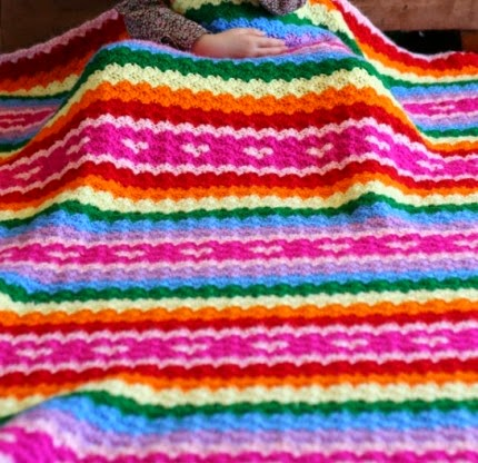 Rainbows and Hearts Blanket - Free Pattern